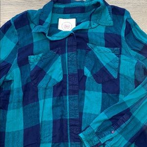 Blue and navy plaid shirt